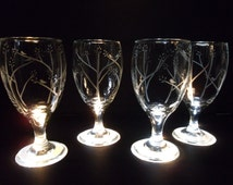 Drinking glasses etched with birds in trees. Set of 4. Wedding gift, iced tea glasses, custom glassware.