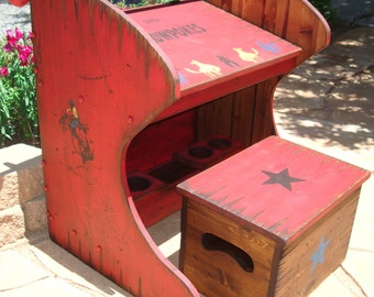 Rustic western wood kid's desk and box chair with storage inside. Organize their art supplies in top shelf compartment & on bottom shelf .