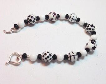 Black and White Patterned Bracelet