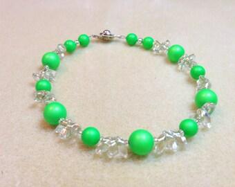 Swarovski Neon Green Pearl Bracelet perfect for Summer