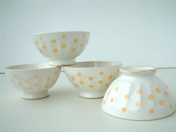 One large French vintage  CAFE AU LAIT bowl white with peach polka dots