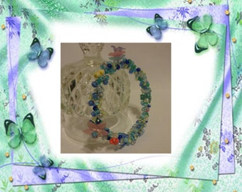 Sea, Sky, Flowers and Butterflies Wire Wrapped Bangle