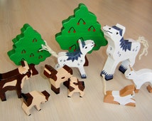 pdf patterns / tutorial for 10 different wooden figures in Waldorf style, DIY - white horse, cat, goat, tree