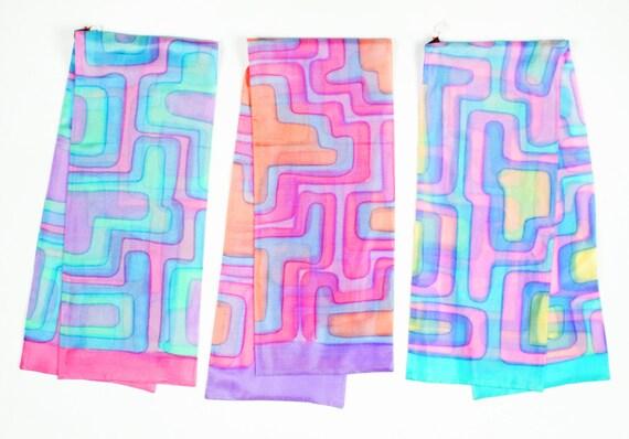 Vintage Silk Scarf 1970s Handpainted in France Neon Pastels Soft Geometric Design