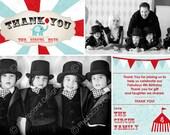 Vintage Circus Birthday Photo Thank You | Digital | DIY | Print file | invite | party | Carnaval | Tent | Elephant | Vintage Carnival
