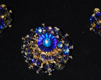 signed vendome brooch and earring set