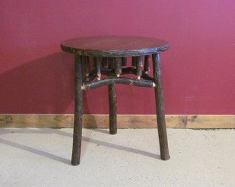 HICKORY LOG Side TABLE - Old Fashioned Hickory Side Table