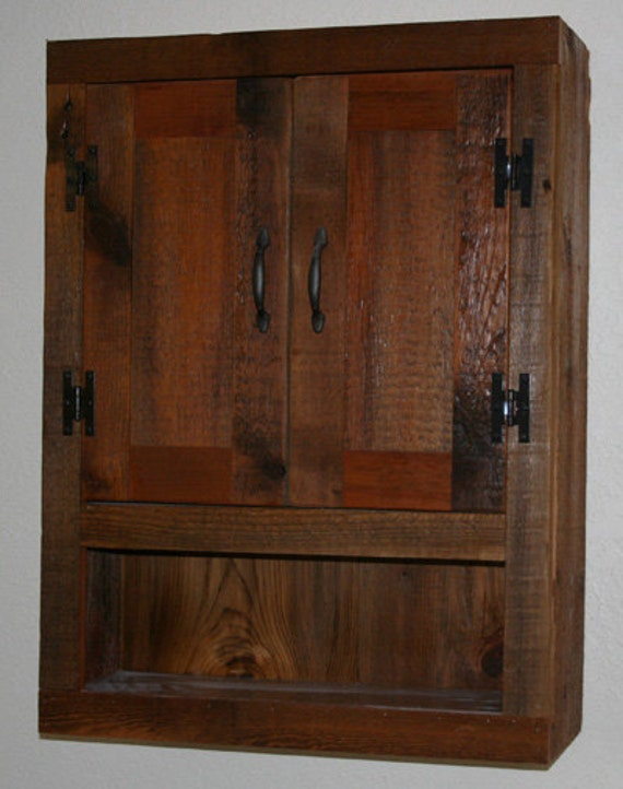 Barn Wood Toilet Cabinet With Two Doors