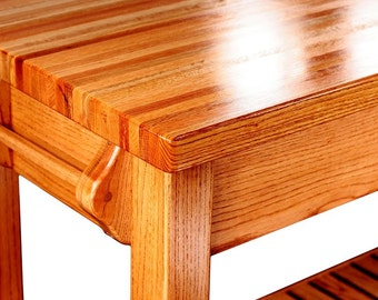 Solid Oak Kitchen Island, with shelf. Your choice of wiping stain on base.