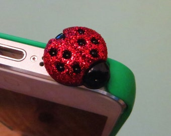 Ladybug cell phone charm, dust plug charm