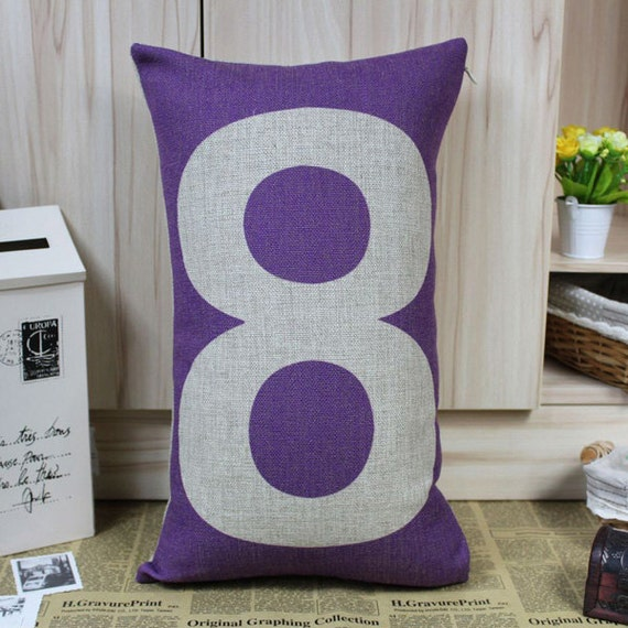 Lucky Number 8 Pillow in Sack Style Snow Little Shop