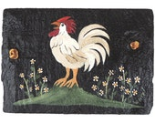 Hand Painted Slate Crowing Rooster