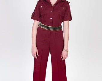 Burgundy Military Jumpsuit