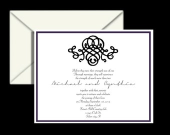wedding invitations,  invitation invites invite  Elegant embellish Black and white  RSVP and reception cards