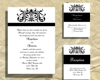 Wedding Invitations, Shimmery shine card stock Traditional design in  Black and white  RSVP and reception cards