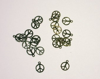Gold and Silver Peace Sign Charms, 11mm Set of 10