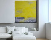 Calm -  36 x 36 - Original Abstract Acrylic Painting on Canvas -  Highly Textured -  Yellow Gray Grey