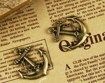 DIY  jewelry 20 pcs of antique bronze ship anchor pendant 32X28mm