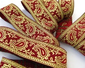 Paisley Jacquard Ribbon Trim Red Gold
