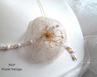 767 Wedding bridal necklace flower Wire pearls ivory gold asymmetrical