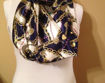 Blue and white with gold chains and pink beads satiny infinity circle loop eternity scarf