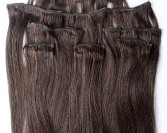 18 inches 7pcs Clip In Human Hair Extensions 2 Darkest Brown