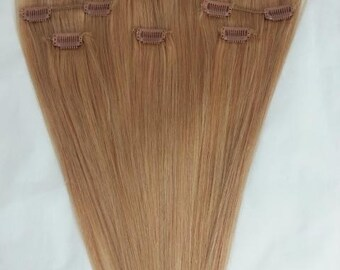 24 inches 7pcs Clip In Human Hair Extensions 16 Honey Blonde