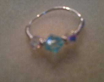 Sterling silver wired wrapped ring w tourquise/clear glass beads