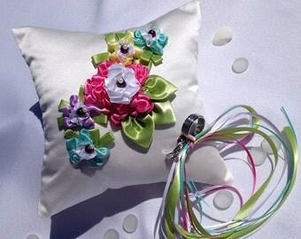 Wedding Ring Bearer Pillow handmade ribbon embroidered