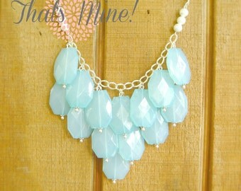Aqua Turquoise bib statement necklace, Aqua statement necklace