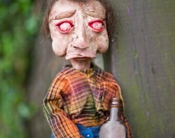 Hand-made Creepy Art Doll, Moonshine Marty