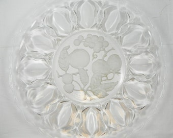 Pressed Clear Glass Collectible Platter