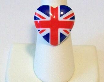 Trendy Fun British Flag Union Jack Heart Shaped Fashion Ring Adjustable Band