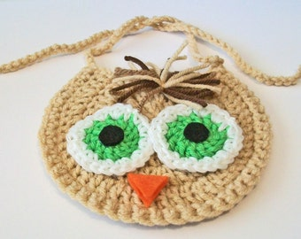 So Cute Hand Crocheted Tan and Green Owl Baby Bib Great Photo Prop Matching Hat Also Available