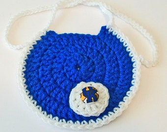 Hand Crocheted Round Blue and White Kentucky Wildcats Baby Bib Great Photo Prop