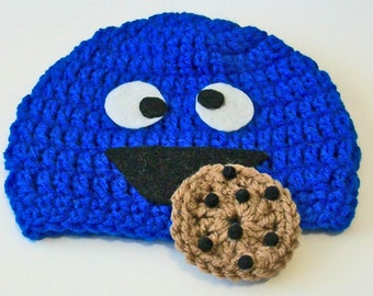 So Cute Blue Monster Cookie Inspired Crocheted Baby and Childrens Hat Great Photo Prop 5 Sizes Available