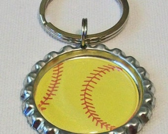 Bright Yellow Softball Metal Flattened Bottlecap Keychain Great Gift
