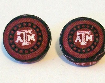 Fun Texas A and M Aggies Inspired Fabric Button Pierced Earrings