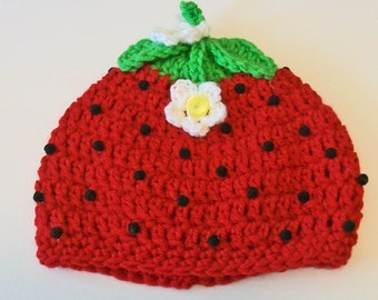 So Cute Ripe Red Strawberry Crocheted Baby and Childrens Hat Great Photo Prop 5 Sizes Available