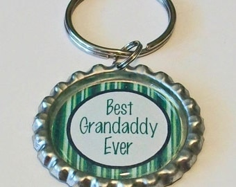 Blue and Green Stripe Best Grandaddy Ever Grandfather Metal Flattened Bottlecap Keychain Great Gift