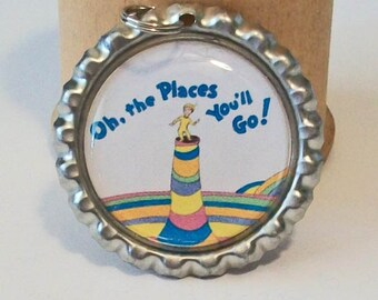 Fun Dr Seuss Inspired Oh The Places You'll Go Flattened Bottlecap Pendant Necklace