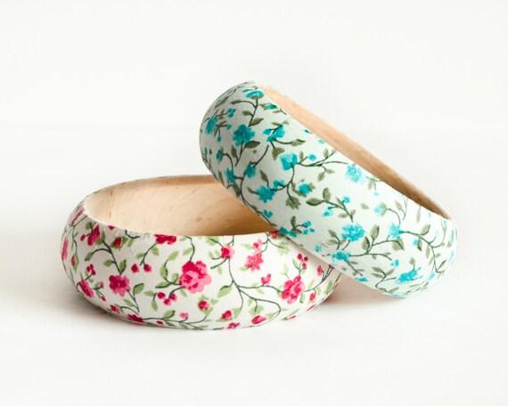 Wood flower bangles