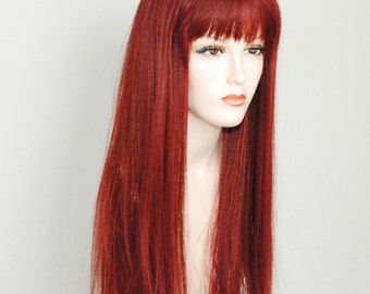 Spicy cinnamon red/ long silky straight wig