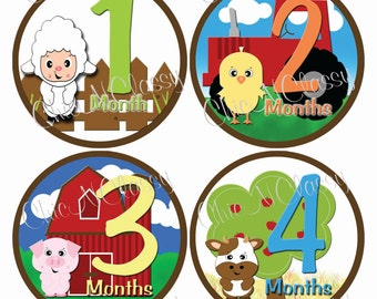 Animal monthly stickers, baby boy gifts, Barnyard Fun- PRINTABLE Round Monthly Infant Stickers-.PDF Instant Download Digital file only-MS005