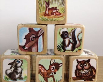 Bambi // Childrens Book Blocks // Natural Wood Toy