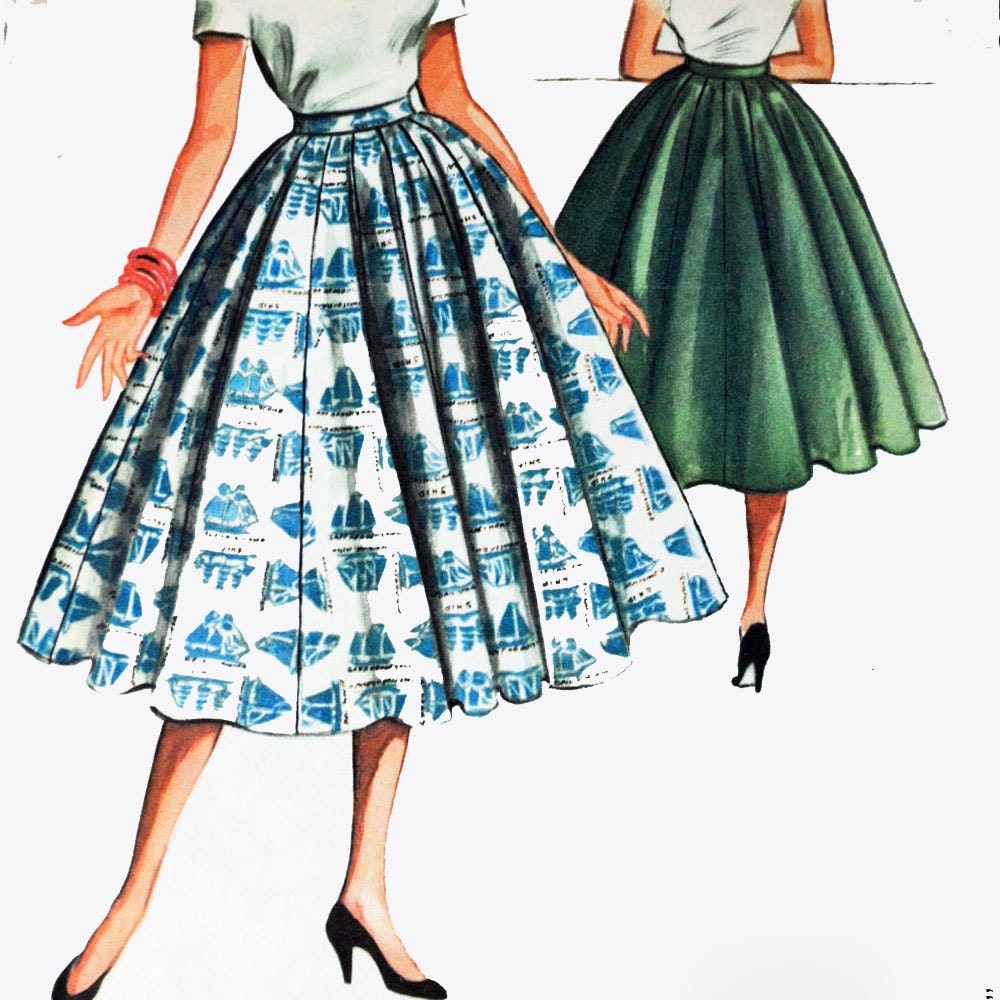 vintage 50s skirt pattern high waist skirt 16
