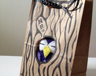 Block Printed gift bag for Dream Owl.