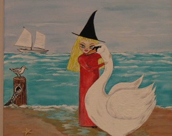 "Original Painting by Dona Silver   Witch, Swan, Ocean 11"" X 14"" canvas painting Nursery Decor"