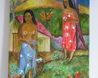 Gauguin inspired Original painting by Dona Silver.  Home decor.  Tahiti theme.  Oil and Acrylic flower skull painting
