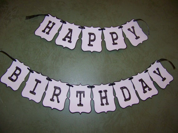 happy birthday banner black and white
